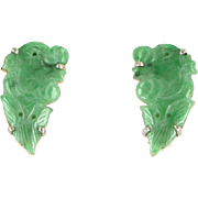 Carved Jade Dragon Clip Earrings Vintage 14 Karat Gold Estate Fine Jewelry Heirloom