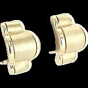 Shrimp Earrings Vintage Satin Finish 14 Karat Yellow Gold Estate Fine Jewelry