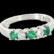 Emerald Diamond Pinky Ring Sz 4.25 Vintage 950 Platinum Estate Jewelry Pre Owned