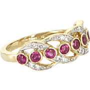 Ruby Diamond Sz 7 Band Ring Vintage 10 Karat Yellow Gold Estate Fine Jewelry
