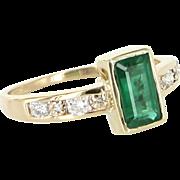 Emerald Diamond Ring Vintage 14 Karat Yellow Gold Estate Fine Jewelry Pre Owned