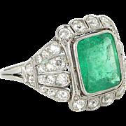 Emerald Diamond Ring Vintage Art Deco 900 Platinum Estate Fine Jewelry Heirloom