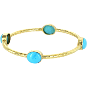 Turquoise Bangle Bracelet Vintage 14 Karat Yellow Gold Estate Fine Jewelry Pre Owned