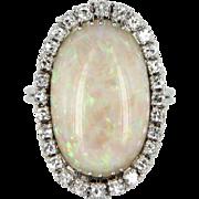 Natural Opal Diamond Cocktail Ring Vintage 18 Karat White Gold Estate Fine Jewelry