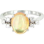 Mexican Fire Opal Diamond Ring Vintage 14 Karat Gold Estate Fine Jewelry Pre Owned