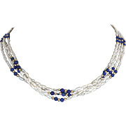 "Lapis Lazuli Freshwater Pearl 18"" Necklace Vintage 14 Karat Gold Estate Fine Jewelry"