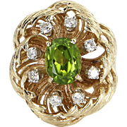 Peridot Diamond Cocktail Ring Vintage 14 Karat Yellow Gold Estate Fine Jewelry