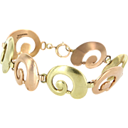 Tiffany & Co Vintage 14 Karat Rose & Yellow Gold Swirl Bracelet Estate Designer Jewelry