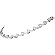 3.75ct Diamond Swirl Choker Necklace Vintage 18 Karat White Gold Estate Jewelry Fine