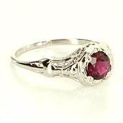 Vintage 14 Karat White Gold Pink Tourmaline Filigree Engagement Ring Pre-Owned