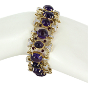 Vintage Amethyst Ruby Diamond Cocktail Bracelet 18 Karat Gold Fine Estate Pre Owned