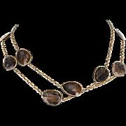 "Vintage Long 35.5"" Rutilated Quartz 14 Karat Yellow Gold Necklace Estate Jewelry"