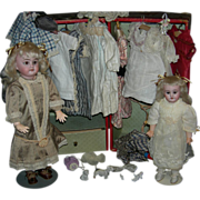 "Two (2) Sisters!! - Trunk & Clothes!! - Mold 1894 A.M. - Rare Bodies!! - 11"" & 15"" -"