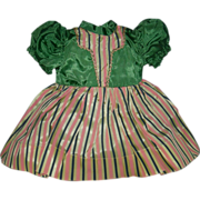 """DOLL DRESS - 1950's - Vintage - 10"""" Long - Attached Panties - Green bodice w/ Insert & St"""