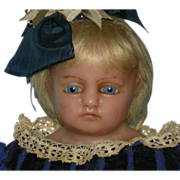 """MEECH - 24"""" - English Poured Wax Doll - Blue Glass Eyes & Blonde Human Inserted Hair"""