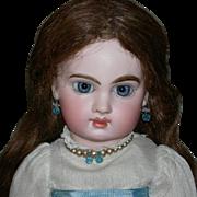 "E6J JUMEAU - Gorgeous Blue Bulging Paperweight Eyes!! - 14"" - Early Original Finish Marke"