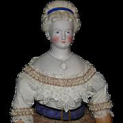 "CONTA and BOHNE - 1870 - Parian Bisque - 25"" - Rare Hairdo w/ Molded Headband - Molded Ne"