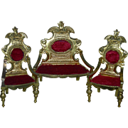 DOLLHOUSE GOLD METAL SETTEE & TWO CHAIRS - Heavy Gold Metal w/ Burgundy Velvet Upholstery - 6""