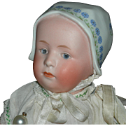 "GEBRUDER HEUBACH - BABY w/ MOLDED & DECORATED HAT - 10"" - Marked Head & Original Body Fin"