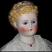 "ALT, BECK & GOTTSCHALK -Rare Parian Lady Doll - 21"" - Glass Eyes & Rare Hairdo - Antique"