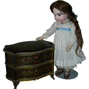 FRENCH CHEST - CANDY CONTAINER w/ DRAWERS - Lovely Designs - Bronze Base & Legs - Bronze Pulls