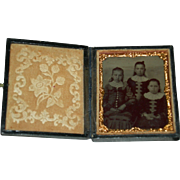 "THREE SISTERS - TINTYPE - Perfect Leather Case w/ Lock - Glass - Copper Frame - 3"" x 2 1/"