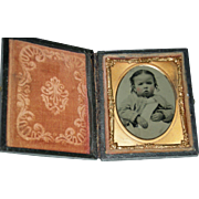 "PRETTY BABY - TINTYPE - Leather Case with Glass & Copper Insert - 3"" x 2 1/2"" - Exce"