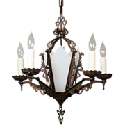 Stellar Antique Art Deco Cast Bronze Six-Light Chandelier