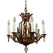Magnificent Antique Bronze Chandelier with Onyx Orb, Early 1900s