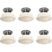 Antique Flush-Mount Schoolhouse Lights with Flash Glass Globes
