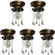 Petite Antique Exposed Bulb Flush Mounts, Teardrop Prisms- ONE AVAILABLE