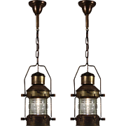 Fantastic Vintage Nautical Brass Lantern Pendants, Ankerlight