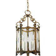 Marvelous Antique Neoclassical Lantern, Hand Cut Glass