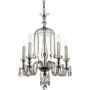 Dazzling Antique Five-Light Glass Chandelier with Prisms