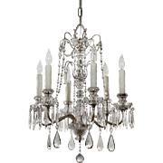 Stunning Antique Silver Plated Chandelier with Crystal Prisms, Early 1900s