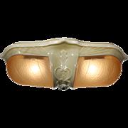 Unusual Antique Art Deco Slip Shade Flush-Mount Light, Porcelain