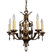 Stunning Antique Egyptian Revival Figural Chandelier with Cameos, c.1920