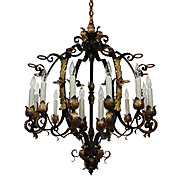 Substantial Antique Twelve-Light Two-Tone Iron and Bronze Chandelier