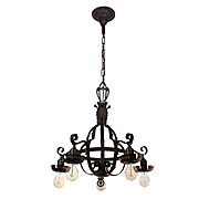 Striking Antique Iron Chandelier, Early 1900s