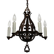 Delightful Antique Five-Light Tudor Iron Chandelier