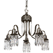 Beautiful Antique Neoclassical Silver Plate Chandelier with Prisms, c.1910