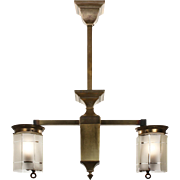 Splendid Antique Brass Arts & Crafts Two-Light Gas Chandelier, Early 1900s