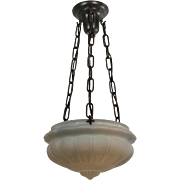 Beautiful Antique Neoclassical Inverted Dome Chandelier with Opaline Shade, c. 1914