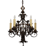 Marvelous Antique Iron Chandelier with Prisms