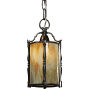 Fabulous Antique Arts & Crafts Pendant Light with Original Slag Glass