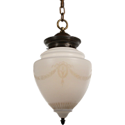 Marvelous Antique Neoclassical Pendant Light with Original Shade