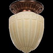 Elegant Antique Flush Mount Light With Original Glass Shade, c.1910