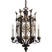 Fabulous Antique Tudor Two-Tone Chandelier with Fleur-De-Lis