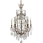Stunning Antique Bronze Chandelier with Crystal Prisms, Early 1900s