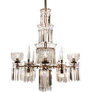 Striking Antique Bronze Gas & Electric Chandelier with Crystal Prisms, c.1890